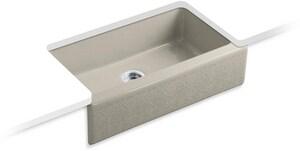 Kohler Alencon Lace™ 4-Hole Single Bowl Cast Iron Undercounter Kitchen Sink K14579-KG