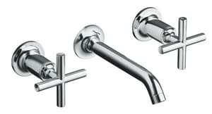 Kohler Purist® 3-Hole Wall Mount Widespread Lavatory Faucet with Double Cross Handle KT14413-3