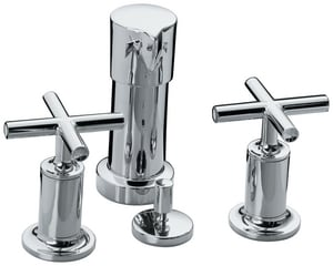 Kohler Purist® 3-Hole Bidet Faucet with Double Cross Handle K14431-3