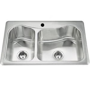 Kohler Staccato™ 33 x 22 in. Top Mount Large/Medium Double Bowl Kitchen Sink K3361