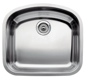 Blanco America Wave™ 1-Bowl Stainless Steel Undermount Kitchen Sink in Polished Satin B440248