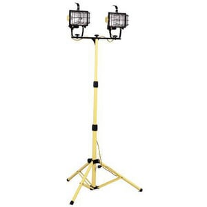 Coleman Cable Systems 500 W Dual Halogen Flood Light with Tripod Wye in Yellow C077768802