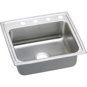 Elkay Gourmet Lustertone® 1-Bowl Stainless Steel Top Mount Quick-Clip Kitchen Sink ELRQ2521