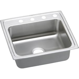 Elkay Lustertone® 3-Hole Single Bowl Drop-In Clip Kitchen Sink in Stainless Steel ELRADQ2219603