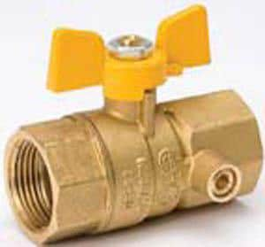 B & K Industries Brass Female Gas Ball Valve with Sided IPT Tap-On Pipe B11055