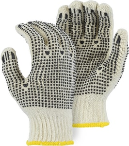 Majestic Glove L Size Cotton Glove with Dots in White M3825L