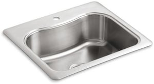 Kohler Staccato™ 25 x 22 in. Single Bowl Self-Rimming Stainless Steal Sink K3362