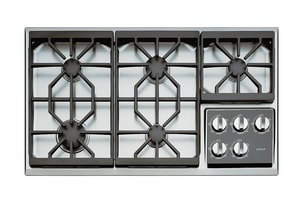 Wolf Range 36 in. Natural Gas Cooktop in Stainless Steel WCT36GS