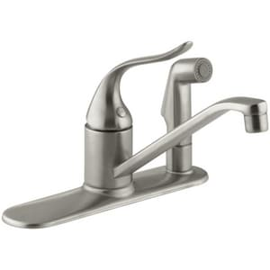 Kohler Coralais® 3-Hole Kitchen Faucet with Single Lever Handle, Sidespray and 8-1/2 in. Spout Reach K15173-F-BN