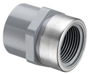 Spears Manufacturing Schedule 80 CPVC Stainless Steel Collar Transitional Special Reinforced Female Adapter S835CSR