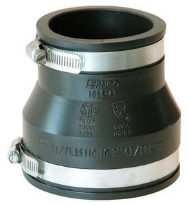 Fernco Asbestos Cement Fiber (AC) and Ductile Iron x Cast Iron and Plastic Coupling F1051