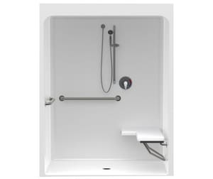 FreedomLine 83-1/2 x 65 in. Acrylic Shower Unit with Left Hand Seat and Center Drain in White A6036BFSCLW