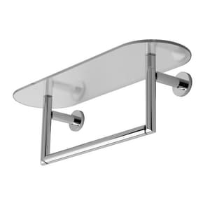 Ginger USA Sine® 24 in. Tempered Shelf with Towel Bar in Polished Chrome G0219T24PC