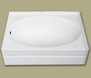Florestone 59-3/4 x 42-1/2 in. Left-Hand Drain Full Apron Fiberglass Bath in White F6086FALHWH