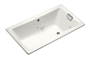 Kohler Tea-For-Two® 60 x 32 in. Cast Iron Whirlpool with Heater in White K852-H2-0