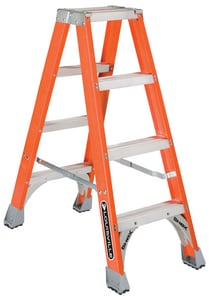 Louisville Ladder 19-9/16 in. 300 lbs. Fiberglass Double Step Ladder LFM1504