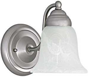 Capital Lighting Fixture 100 W 1-Light Faux Alabaster Medium Bracket Sconce in Matte Nickel C1361MN117
