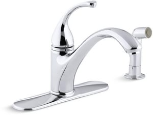 Kohler Forte® 2.2 gpm 4-Hole Single Lever Handle Deckmount Kitchen Sink Faucet Arc 3/8 in. Compression Connection K10412