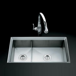 Kohler Poise™ 2-Bowl Undermount Large or Medium Kitchen Sink, Includes Cutting Board and Bottom Bowl Rack K3160
