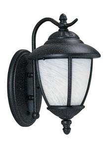 Seagull Lighting Yorktown 13-1/4 in. 100 W 1-Light Medium Wall Lantern in Forged Iron S84049185