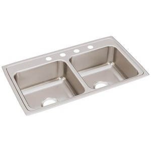 Elkay Gourmet Lustertone® 2-Bowl Top Mount Kitchen Sink ELR3319
