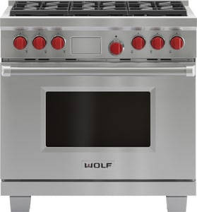 Wolf Range 36 in. 6-Burner Dual-Fuel Range With Griddle WDF366