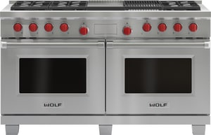 Wolf Range 60 in. 6-Burner With Charcoal Top Dual-Fuel Range WDF606CG