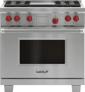 Wolf Range 36 in. 4-Burner Dual-Fuel Range With Griddle WDF364G