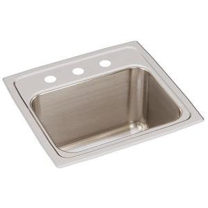 Elkay Gourmet® 17 x 16 in. Self-Rimming Single Bowl Kitchen Sink 3 Hole EDLR1716103