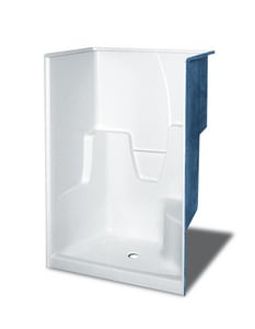 Aker Plastics 48 1/4 x 45 1/2 in. Shower with Left Hand Seat in Biscuit A141033000007001