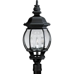 Progress Lighting Onion Lantern 27-3/4 in. Candelabra Post Lantern in Textured Black PP540131