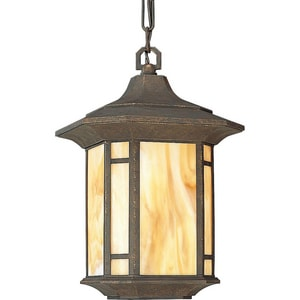Progress Lighting Arts and Crafts 10 in. 100 W 1-Light Medium Chain Hung Lantern in Weathered Bronze PP552846