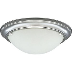 Progress Lighting Eclipse 15-1/4 in. 2-Light Close-to-Ceiling Fixture with Etched White Glass Shade PP3562EB
