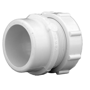 1-1/2 in. Spigot x Slip DWV and Straight Schedule 40S PVC Male Trap Adapter with Nut and Washer PDWVMTAPNJJH