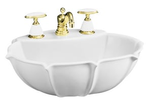 Kohler Anatole® 3-Hole Pedestal Widespread Oval Bathroom Sink with 8 in. Faucet Centerset and Center Drain K2230-8