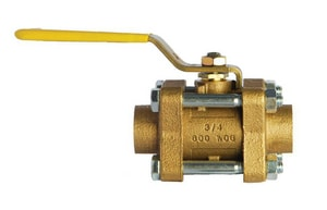 Milwaukee Valve BA-350S 600# Bronze Solder 3-Piece Full Port Blowout-Proof Stem Ball Valve MBA350S