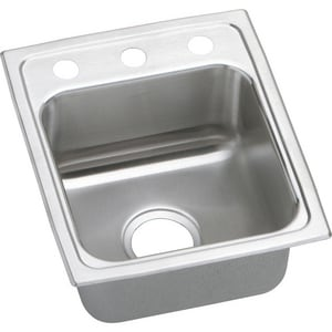 Elkay Gourmet® 3-Hole Stainless Steel 1-Bowl Top Mount Quick-Clip Bar Sink ELRADQ1517653