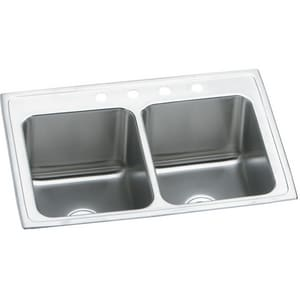 Elkay Gourmet Lustertone® 25 x 19-1/2 in. Lustrous Highlighted Satin Double Bowl Top Mount Sink EDLR251910
