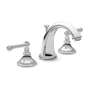 Newport brass 1 5 gpm 3 hole widespread lavatory faucet with double lever handle in polished Newport brass bathroom faucets