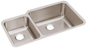 Elkay Gourmet Lustertone® 2-Bowl Undercounter Stainless Steel Kitchen Sink EELUH3520L