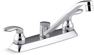 Kohler Coralais® 1.8 gpm 3-Hole Double Lever Handle Deckmount Kitchen Sink Faucet Swing Spout with 7-5/8 in. Reach and 1/2 in. NPSM Connection in Polished Chrome K15251-4-CP