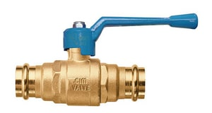 Cimberio Valve Cim 220L.1 2-Piece Press x Copper Forged Brass Full Port Ball Valve with Lever Handle C2200