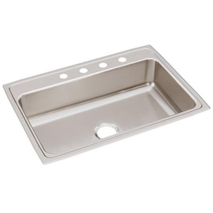 Elkay Gourmet 4-Hole 1-Bowl Topmount Kitchen Sink with Center Drain ELR31224