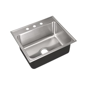Just Manufacturing 3-Hole Single Bowl Stainless Steel Kitchen Sink  Brushed Steel JSLX2225A3