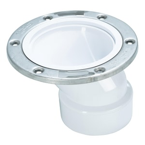Water-Tite 3 - 4 in. PVC Offset Closet Flange with Adjustable Metal Ring I86181