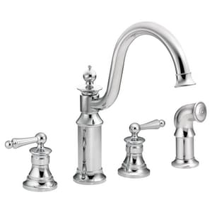 Moen Waterhill™ 2.2 gpm Double Lever Handle Deckmount Kitchen Sink Faucet High Arc Spout MS712