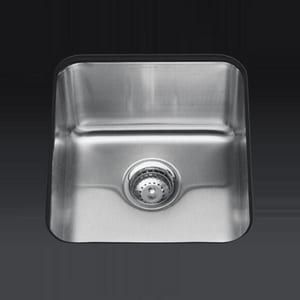 Kohler Undertone® 15-3/4 x 17-1/2 x 9-5/8 in. Medium Squared Under-Mount Single-Bowl Kitchen Sink K3330-NA