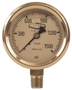 Dixon Valve & Coupling 2-1/2 x 1/4 in. 0-200 psi Low Flow Indicator Lower Mount Pressure Gauge DGLSS200