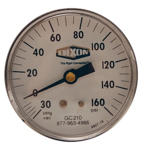 Dixon Valve & Coupling 1-1/2 x 1/8 in. Low Flow Indicator Center Back Mount Pressure Gauge DGC620