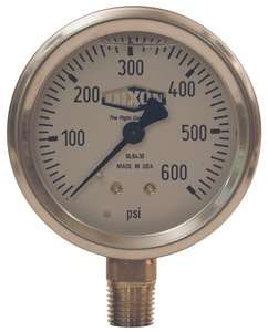 Dixon Valve & Coupling 2-1/2 x 1/4 in. 0-160 psi Low Flow Indicator Lower Mount Pressure Gauge DGLS417